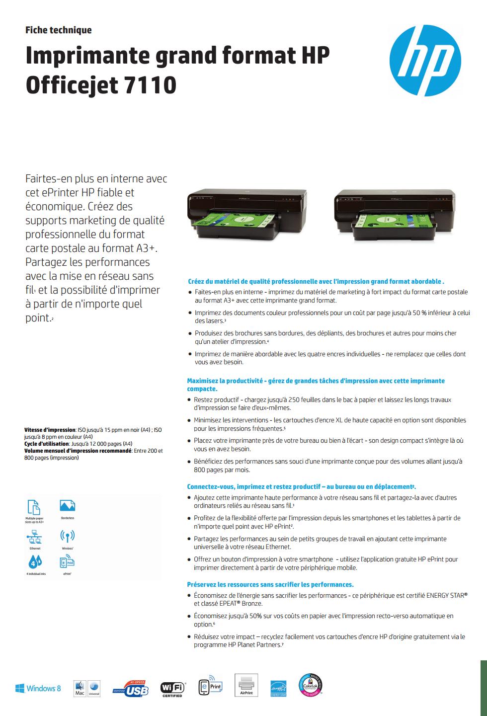HP OFFICEJET 7110 IMPRIMANTE JET D'ENCRE A3